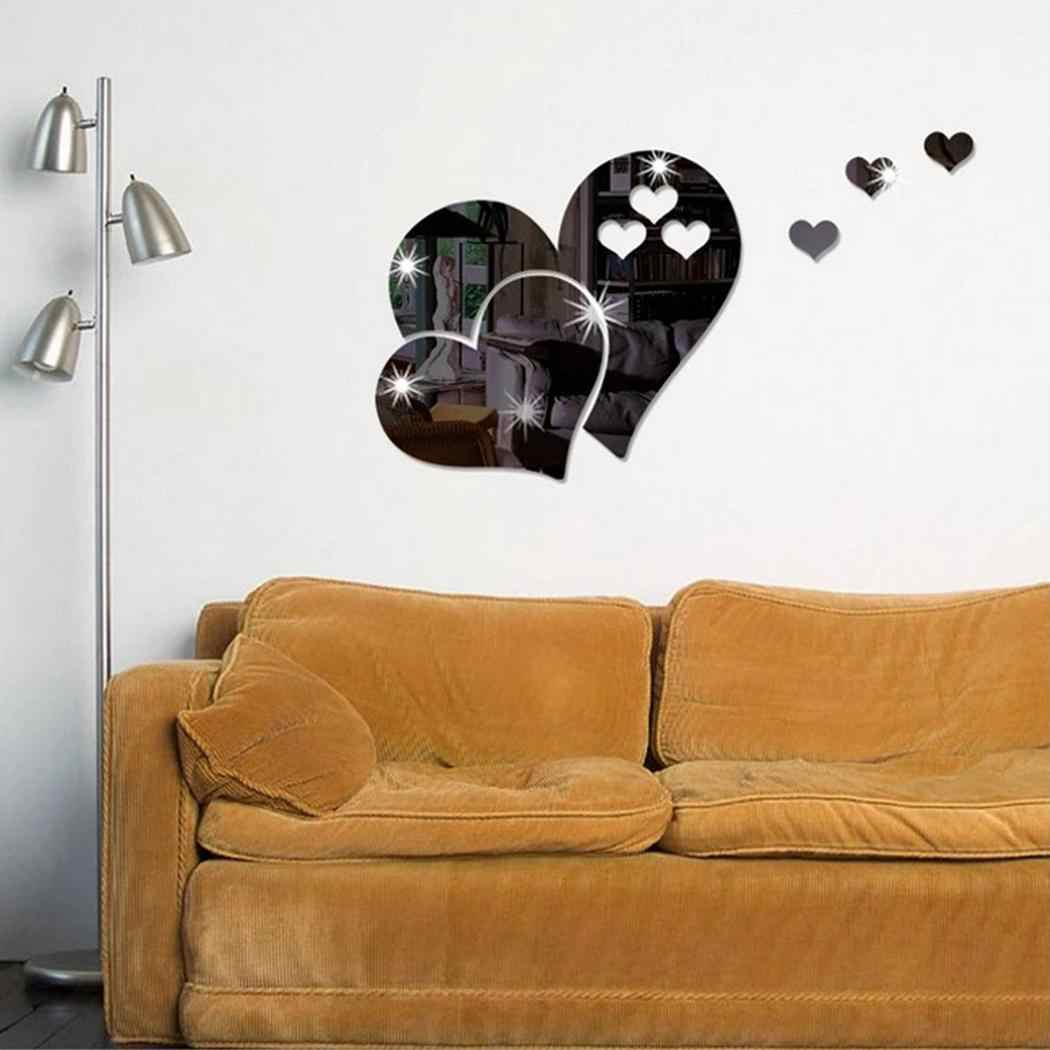 Black sticker of Set Hearts Sticker Gold Mirror Bedroom Rub 1 Silver over Red Nursery Ceiling Love Kids Wall the surface the