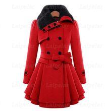 Зимнее шерстяное пальто для женщин модное повседневное двубортное плотное пальто с меховым воротником пальто с поясом элегантное платье