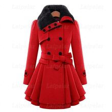 Winter Wool Coats For Women 2018 Fashion Casual Double Breasted Wram Thick Coat Fur Collar with Belt Overcoat Elegant Dress double breasted belt epaulet design turndown collar wool coat