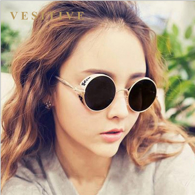14eac5badf Gold Polarized Gothic Steampunk Sunglasses Coating Mirrored Round Circle  Sun glasses Retro Vintage Gafas Masculino accessories