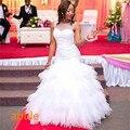 2016 Африканский Стиль Белый Бисероплетение Многоуровневого Свадебное Платье Зашнуровать Свадебное Платье Сшитое Плюс Размер Ручной Vestido Де Noiva
