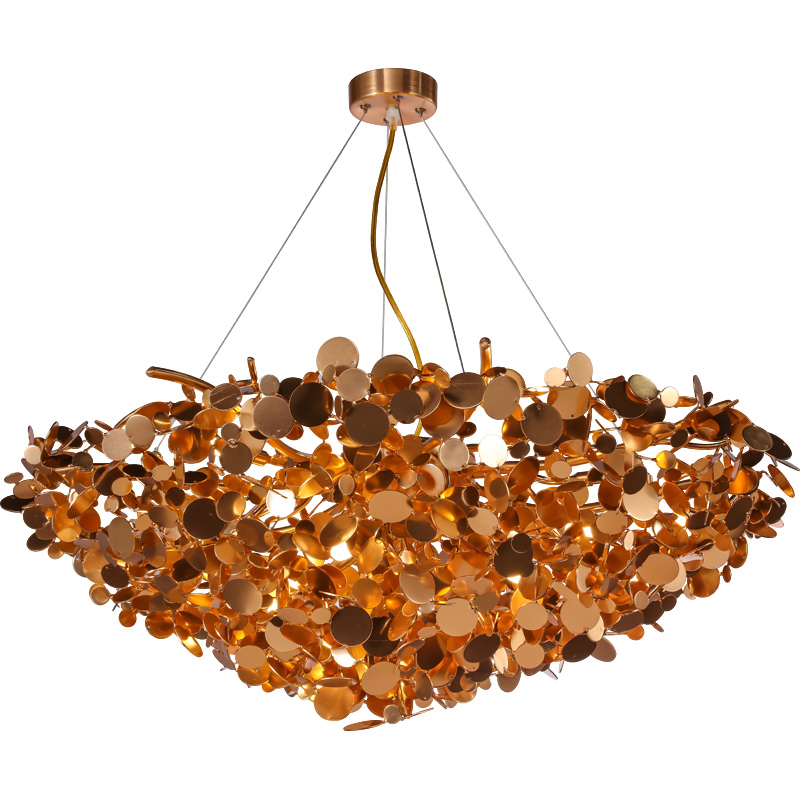 Nordic Post modern Living room Pendant lamps Creative light luxury Bedroom Modern simple Aluminum Gold Chandelier G4 LED BULBS