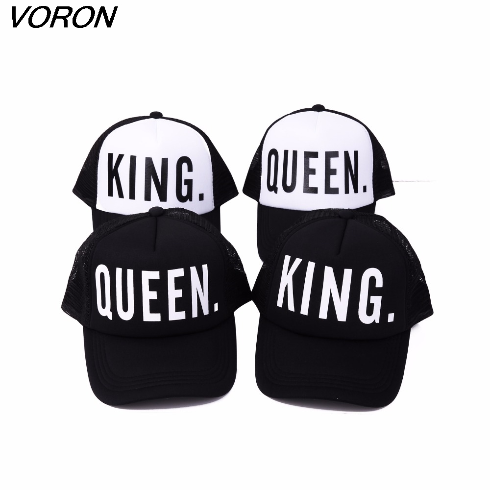 цены  VORONKING QUEEN baseball cap Print Trucker Caps Men Women Polyester Mesh Summer Flat Visor Snapback Hat White Black Couple Gifts