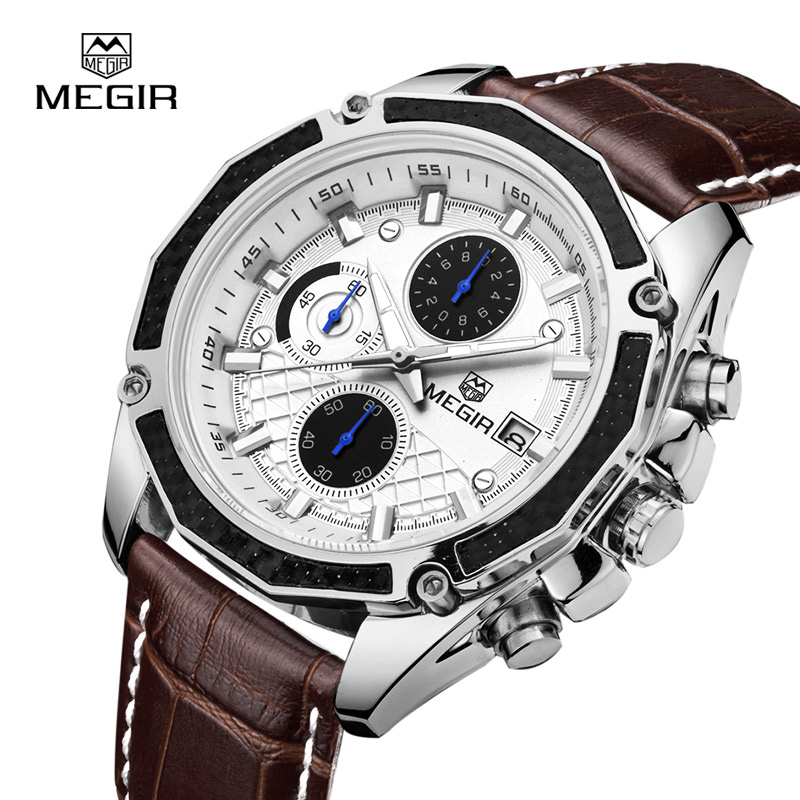 MEGIR Fashion Luxury Black Leather Quartz Watches for Men Casual Brown Three eyes Chronograph Sport Wristwatch