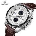 MEGIR Relógios de Quartzo relógio de Moda de Luxo de Couro Preto para Os Homens Casuais Marrom Três-olhos Chronograph Sport Watch Relógio de Pulso para Homem 2015G