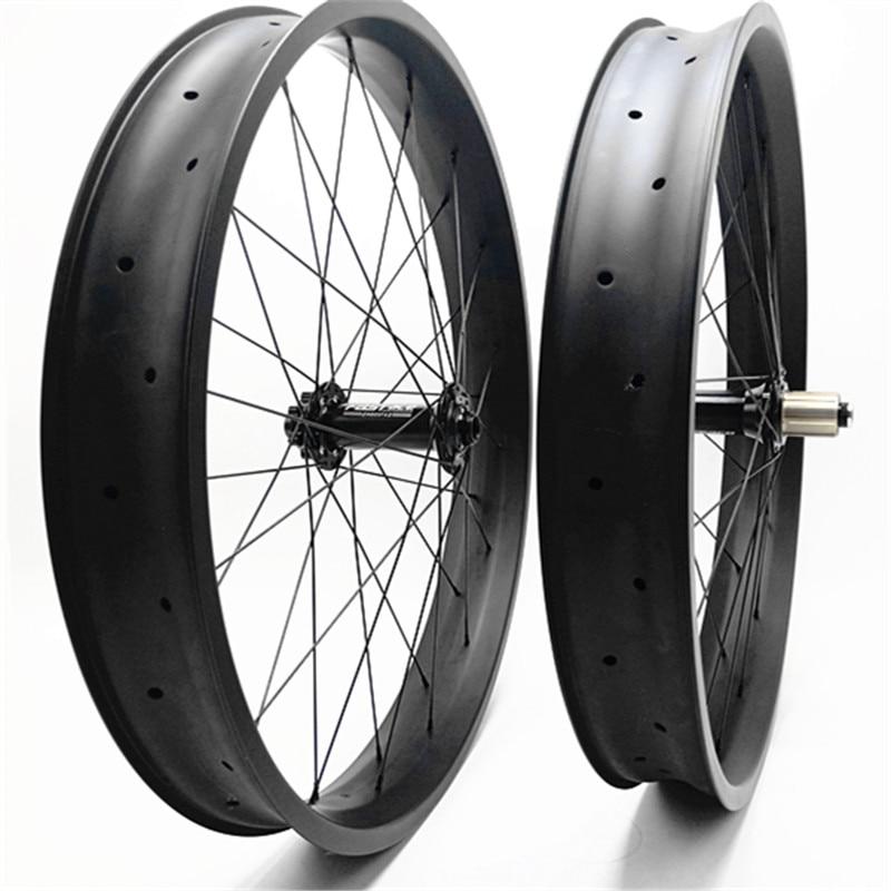 26er Hookless fat rim 65mm width Carbon Fiber Fat Bike Rim Snow Bicycle Rim 1pc