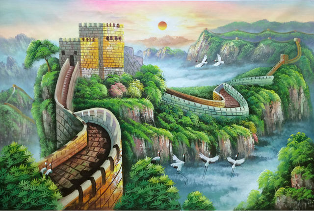HandPainted Knife Oil Painting on Canvas Abstract The Great Wall ...