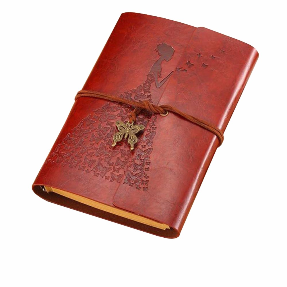 DELVTCH A6 Loose-leaf Retro PU Leather Cover Kraft Paper Strap Notebook w/ Butterfly Vintage Blank Diary Book Traveler Hand book