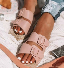 New Flat Women Slippers Summer Ladies Open Toe Beach Weaving Slip On Slide Breathable Buckle Casual Woman Shoes Dropship