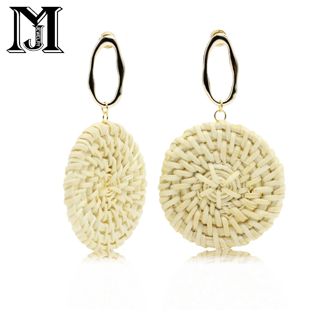 JiaMu hot fashion rattan round long pendants earring four style for wowens party travel wedding jewelry earrings