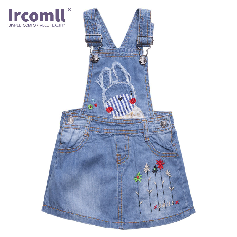 2018 Fashion Baby Girls Bib Overalls Denim Jumper Dresses Cute Rabbit Flowers Mini Jeans Cotton Blue Suspender Dress