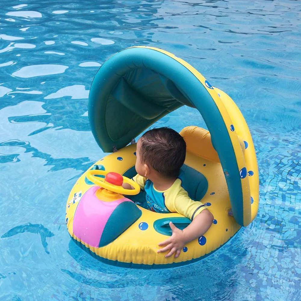Baby Sunshade Inflatable Swimming Ring Pool Infant Cartoon Car Swimming Float Seat Bathing Circle Adjustable Ring Summer Toys
