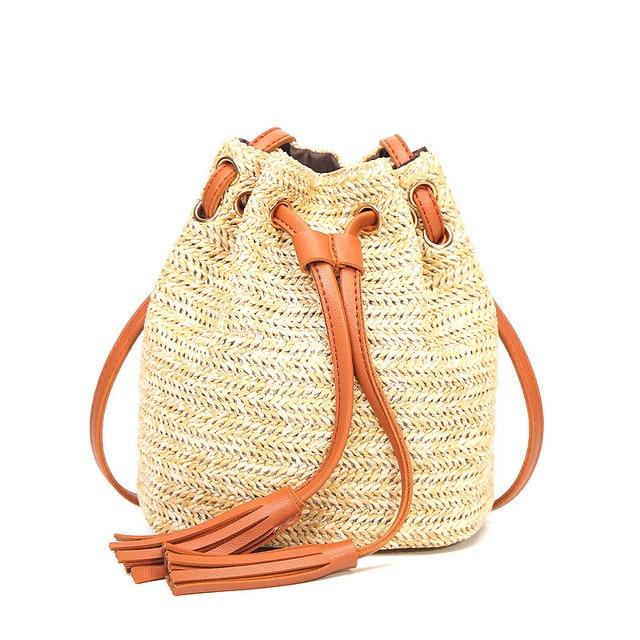 Beach Bag Women Solid String Mini Bucket Bags For Female Summer Knitting  Straw Bags Weaving Bucket 3bb0dfca35a4f