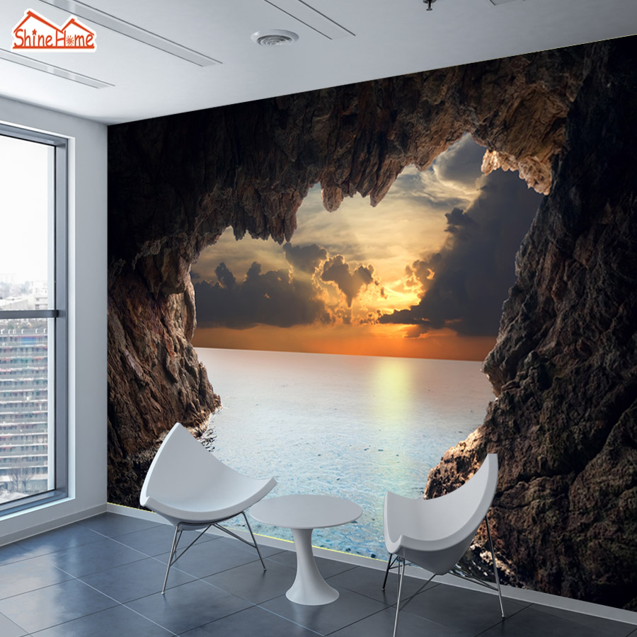 3d Landescape Mural Wallpaper Shinehome Large Custom Wallpapers 3d Living Room Sea Cave
