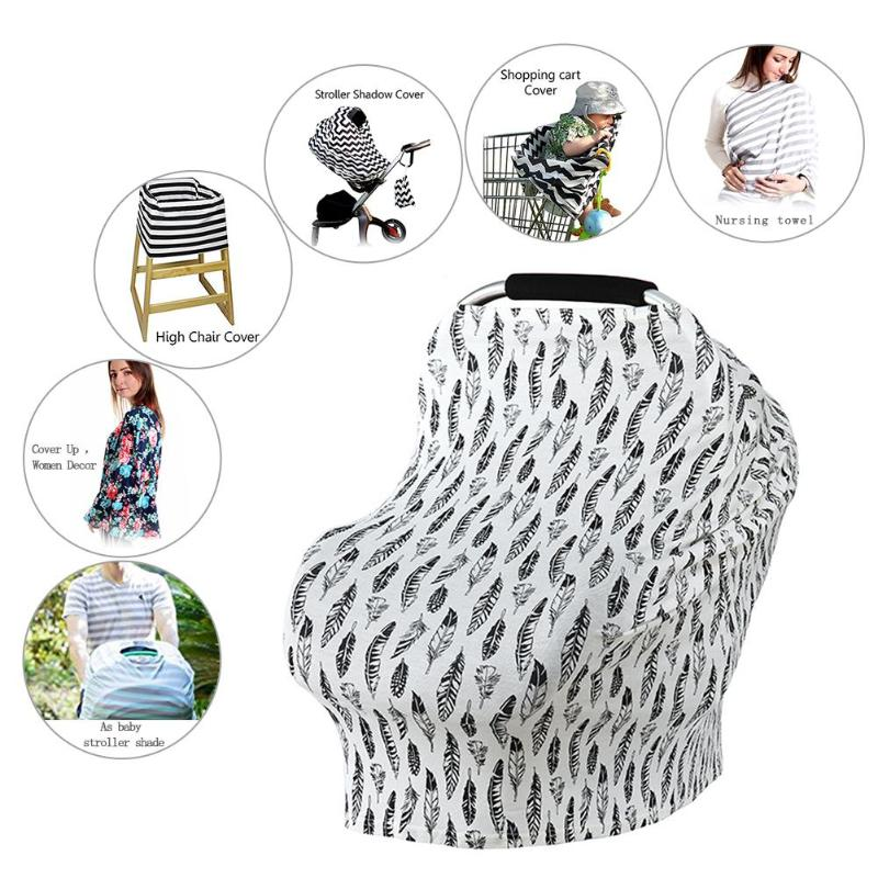 Cotton Nursing Covers Baby Car Seat Cover Feather Mum Stretchy Breastfeeding Cover Nursing Scarf Blanket Cloth Anti-sun Sunshade Mother & Kids