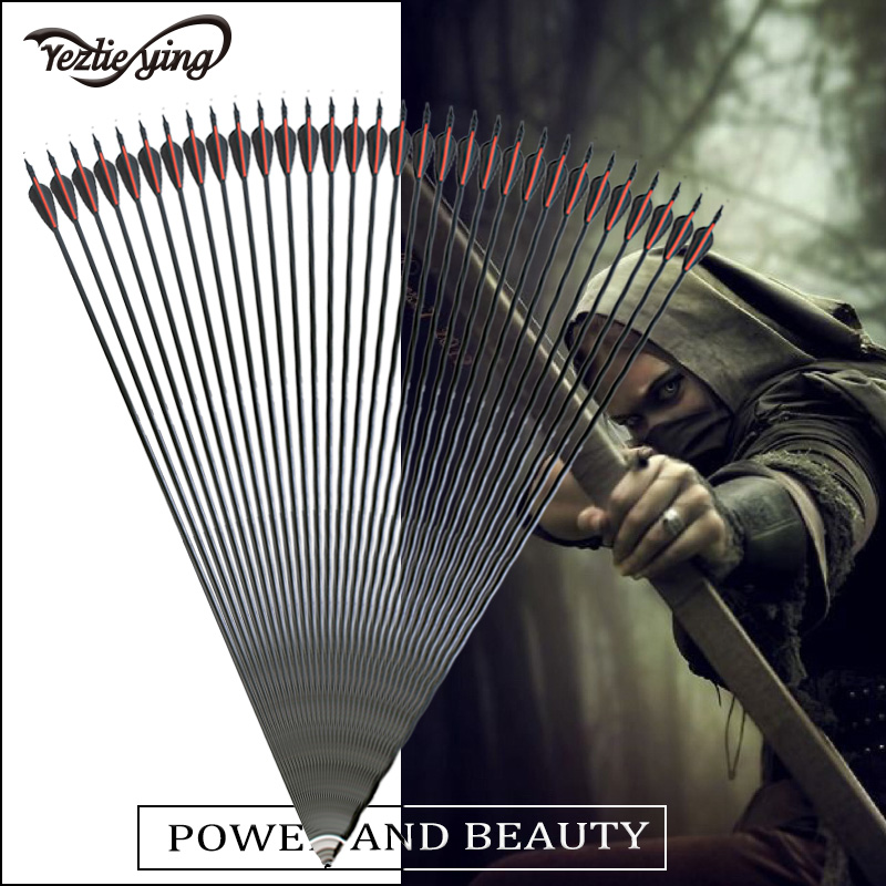 24pcs 30 inch glass arrows replaceable arrowhead Red and black feather hunting repetitive bow shooting target practice