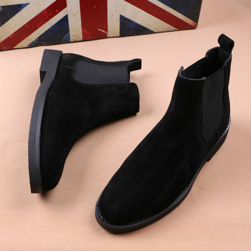 Ingiliz tarzı tasarım erkek moda yumuşak deri çizmeler siyah kahverengi chelsea çizme nubuk kısa patik noktası ayak botas hombre ayakkabı