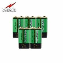 Wama 5 шт. 6F22 супер тяжелые 9 В щелочные не перезаряжаемые батареи для радио микрофон 60 мАч цинковые Углеродные батареи