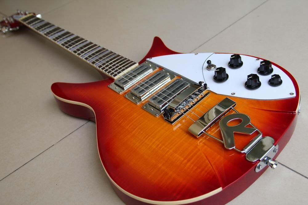 Nouveauté rickenback 360 guitare électrique Ricken 325 3 micros guitare électrique Rick guitare personnalisée en cerise sunburst 330 120528