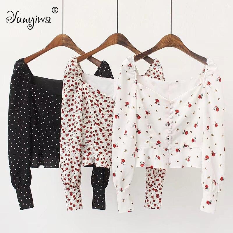 Yuuyiwa Women Blouses Shirts Printed buckled long-sleeved shirt ladies ruffled high waist short top jacket Tops Blusas Mujer De