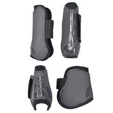 4 PCS Soft PU หนังม้าขี่อุปกรณ์ขี่ม้า Horse Racing Legging Protector การออกกำลังกายรองเท้าอุปกรณ์ม้า Bracers