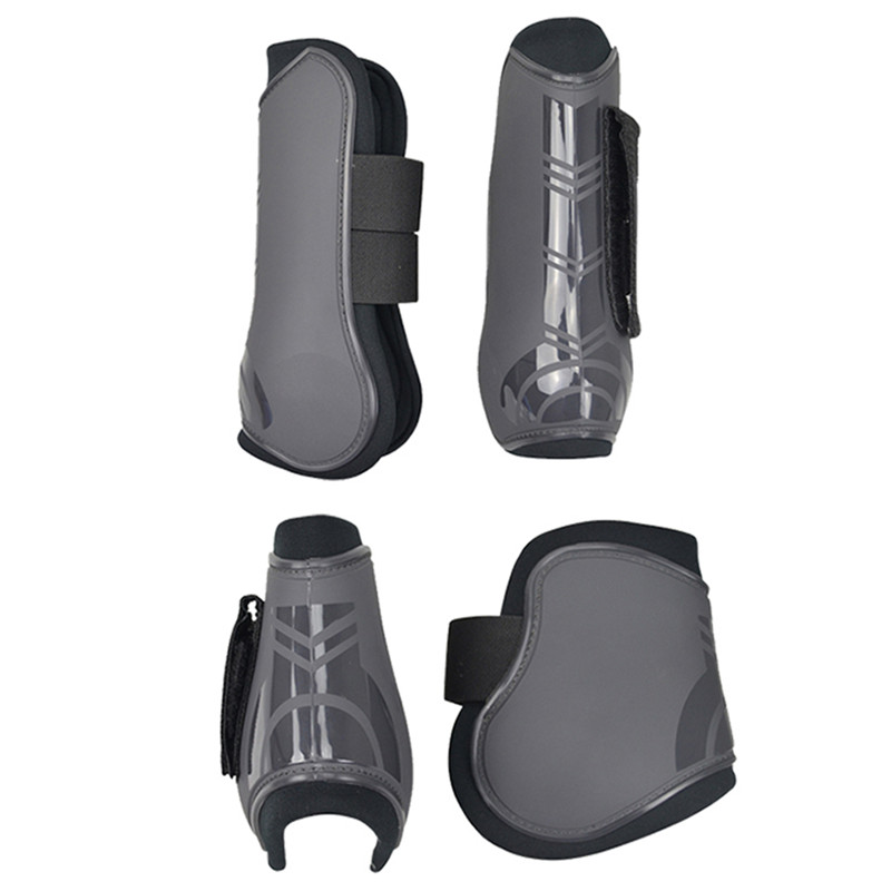 Image 1 - 4 PCS Soft PU Leather Horse Riding Equestrian Equipment Horse racing Legging Protector Exercise boots Equipment  Horse Bracers-in Horse Care Products from Sports & Entertainment