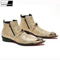 Зимняя Теплая обувь; высокие мужские ботинки; Новинка 2019 года; дизайнерские стильные ботильоны на молнии с металлическими элементами; Мужск