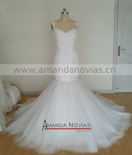 2016 Hot Amanda Novias Elegant White Y Mermaid Wedding Dress With Detachable Train Vestido Noiva