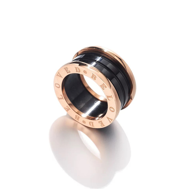 2018 AM FASHION Rose Gold color BE LOVE Ring Knuckle Black and White Rings For Women Jewelry Wholesale