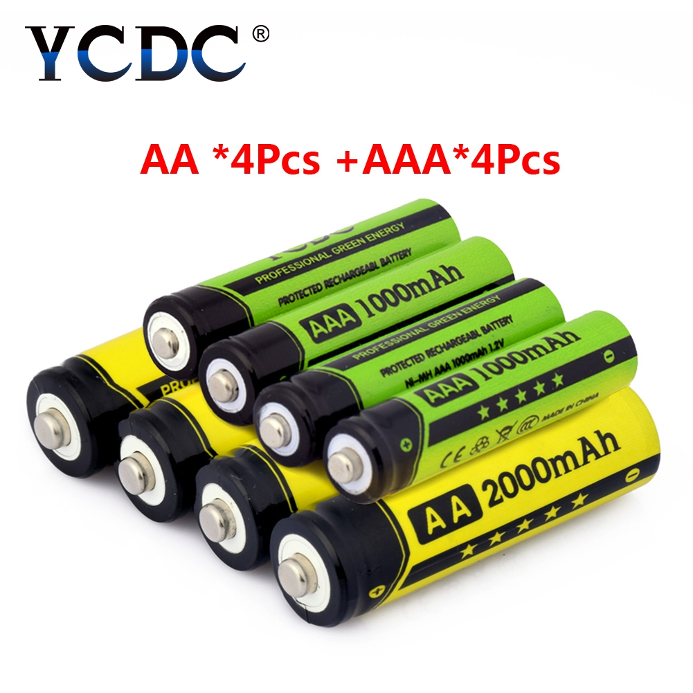 YCDC Original 4 Pcs/box 1.2V 2000mAh NI-MH AA Rechargeable Battery + 4Pcs nimh 1000mAh AAA Batteries with Cells Hold Case Box ycdc 4pcs aa rechargeable battery 2000 mah for charger 1 2v ni mh flashlight rechargeable batteries with batery box