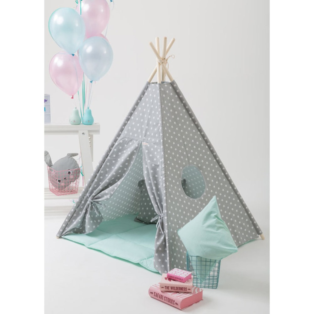 buy popular 5d4f4 07271 US $94.83 |Grey small star design kids play tent indian teepee children  playhouse children play room teepee-in Toy Tents from Toys & Hobbies on ...