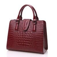 ZHIERNA 2017 High Quality Crocodile Genuine Leather Bags Designer Handbags Ladies Tote Shoulder Bags Women Messenger