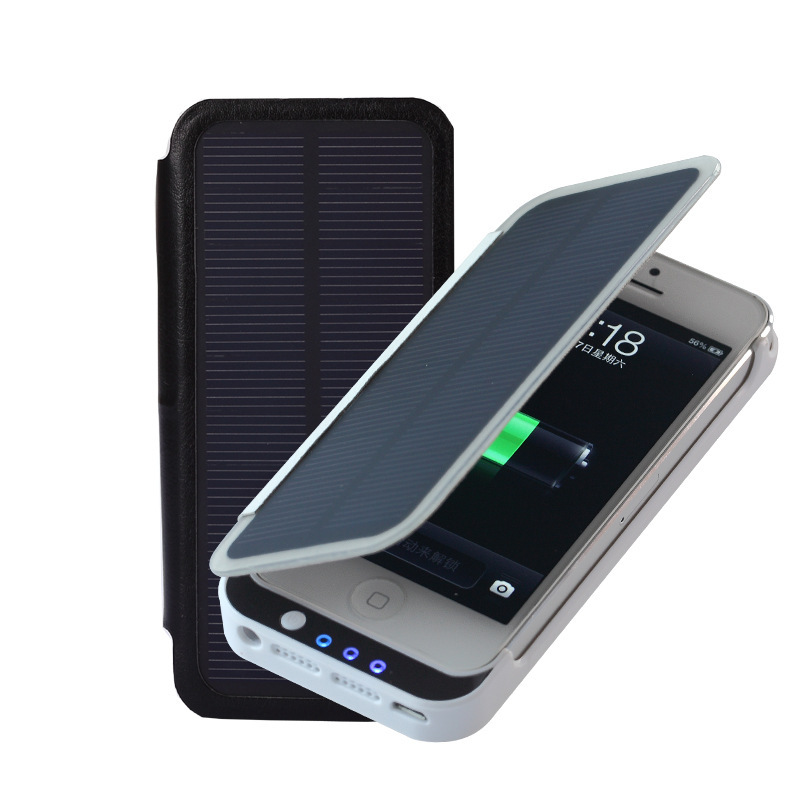 online store ba40d 6a5d8 US $66.28  Digits display PU leather 2800mAh Solar Battery Charging Case  black/white color for iphone 5s/5 Free Shipment-in Power Bank from  Cellphones ...
