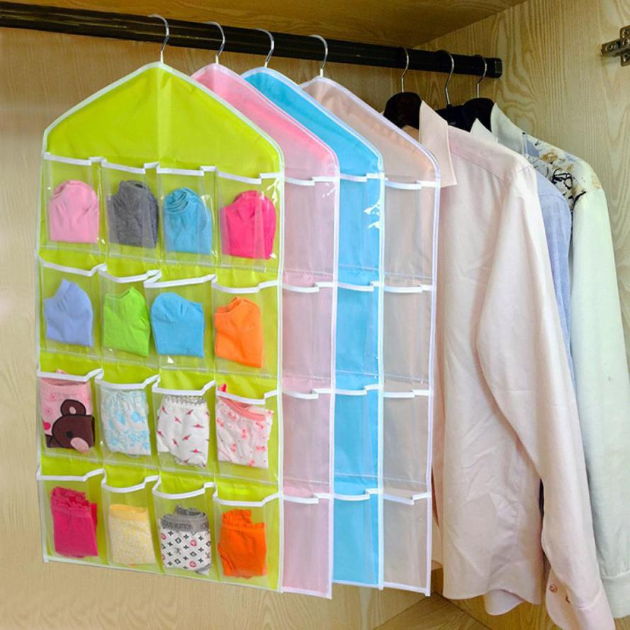 2018 16Pockets Clear Hanging Bag Socks Bra Underwear Rack Hanger Storage Organizer Free Shipping JA11