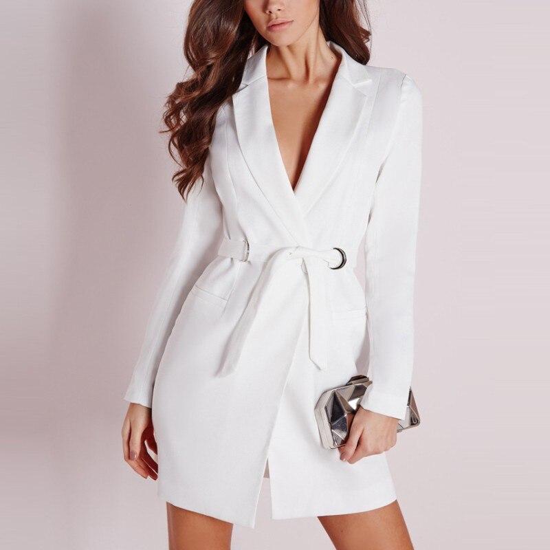 OL Style femmes solide blanc taille haute décontractée Slim robes de bureau Sexy col plongeant élégant Mini robe à manches longues printemps automne