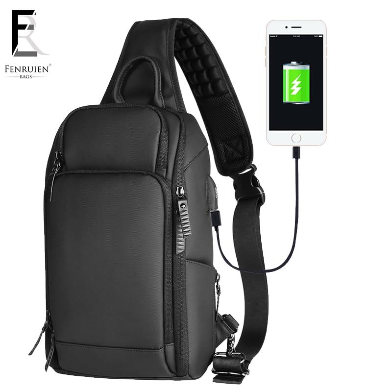 FRN Black Chest Pack Men Casual Shoulder Crossbody Bag USB Charging Chest Bag Water Repellent Travel Messenger Bag Male Fashion