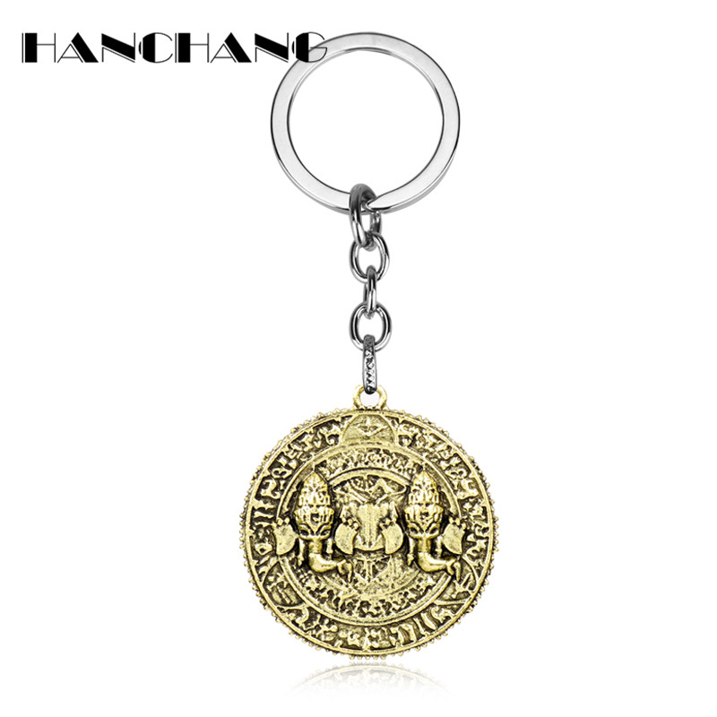 Hot Online Game around Jewelry Uncharted Key chain Alloy Coin Pendants Key Ring Car Keys Holder chaveiro Man Fans Gift