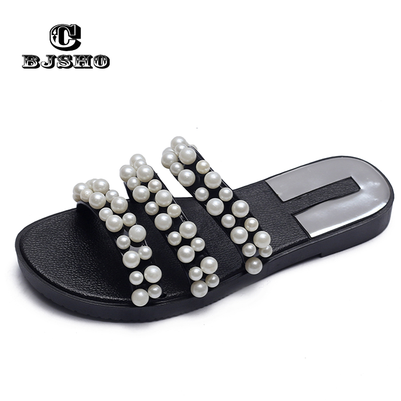 59352a66750a3 CBJSHO Summer Slippers Women Floor Soft Home Female Cute Pearl Slipper Flat  Shoes Slides Comfortable Beach Slippers Flip Flops