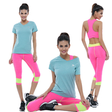 2016 Women Sports Yoga Set Solid Gym Running Sportwear Suit Elasticity Lady Fitness & Body Building Workout Clothing 3 Pieces