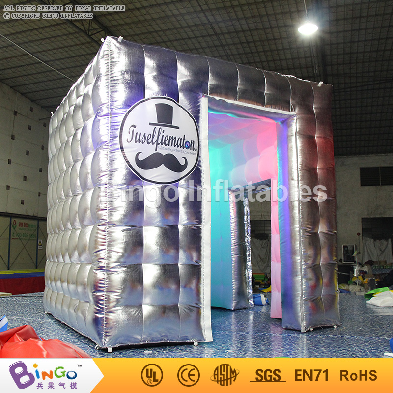 Free Express LED lighting Inflatable photo booth tent Portable blow up silver color photo booth for event party toy tents  free shipping 3x3x2 4m inflatable photo booth cube inflatable photo booth led inflatable photo booth for sale