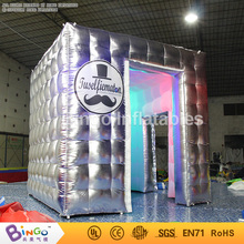 Free Express LED lighting Inflatable photo booth tent Portable blow up silver color photo booth for event party toy tents