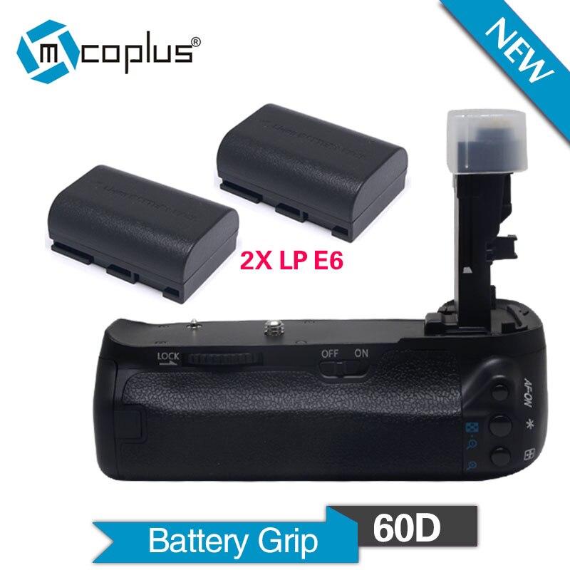 Mcoplus BG 60D Professional Vertical Battery Grip Holder with 2pcs LP E6 Batteries for Canon EOS
