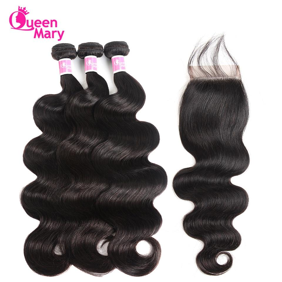 Peruvian Body Wave Bundlar Med Closed Peruvian Hair Bundles With - Mänskligt hår (svart)