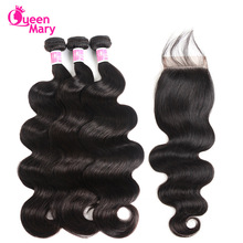 Peruvian Body Wave Bundles Med Closure Peruvian Hair Bundles Med Closure Human Hair 3 Bundler Med Closure Queen Mary Non Remy