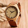 Moda Moderno Relógio De Pulso Relógios De Madeira de Madeira De Bambu Natrue Original Simples Números Relógio de Quartzo Das Mulheres Dos Homens Presente