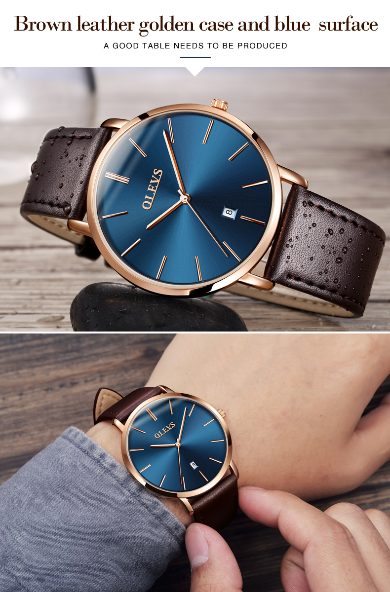 Men luxury brand quartz watches leather strap minimalist ultra-thin waterproof watch fashion wrist watch with high quality 8