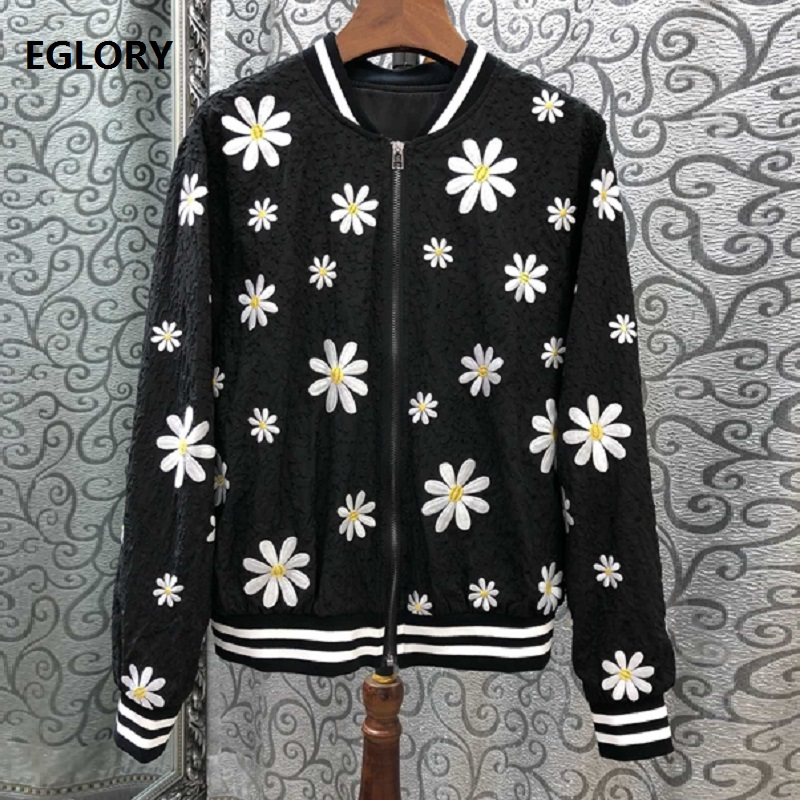 Top Grade New 2019 Spring Summer Fashion Jackets Women Sunflower Embroidery Long Sleeve Silk Cotton Jacket Ladies Casual Outwear