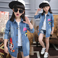 Denim Coats For Girls Trench Long Sleeve Cartoon Denim Jackets For Girls Tops Kids Outerwear Windbreaker 2 4 6 8 10 12 Years