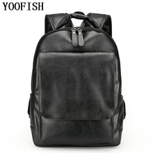 цена на YOOFISH   Male Backpacks Pu Leather Casual Big men's travel bags High Student's school Laptop bag high quality men backpack