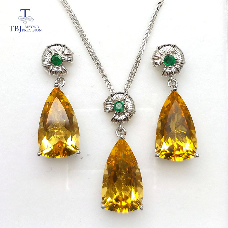 TBJ,Jewelry set pendant and earring with natural citrine and emerald in 925 silver for wedding anniversary ,best gift for women bolaijewelry natural emerald pendant or necklace and ring and earring jewelry set 925 sterling silver for women anniversary gift